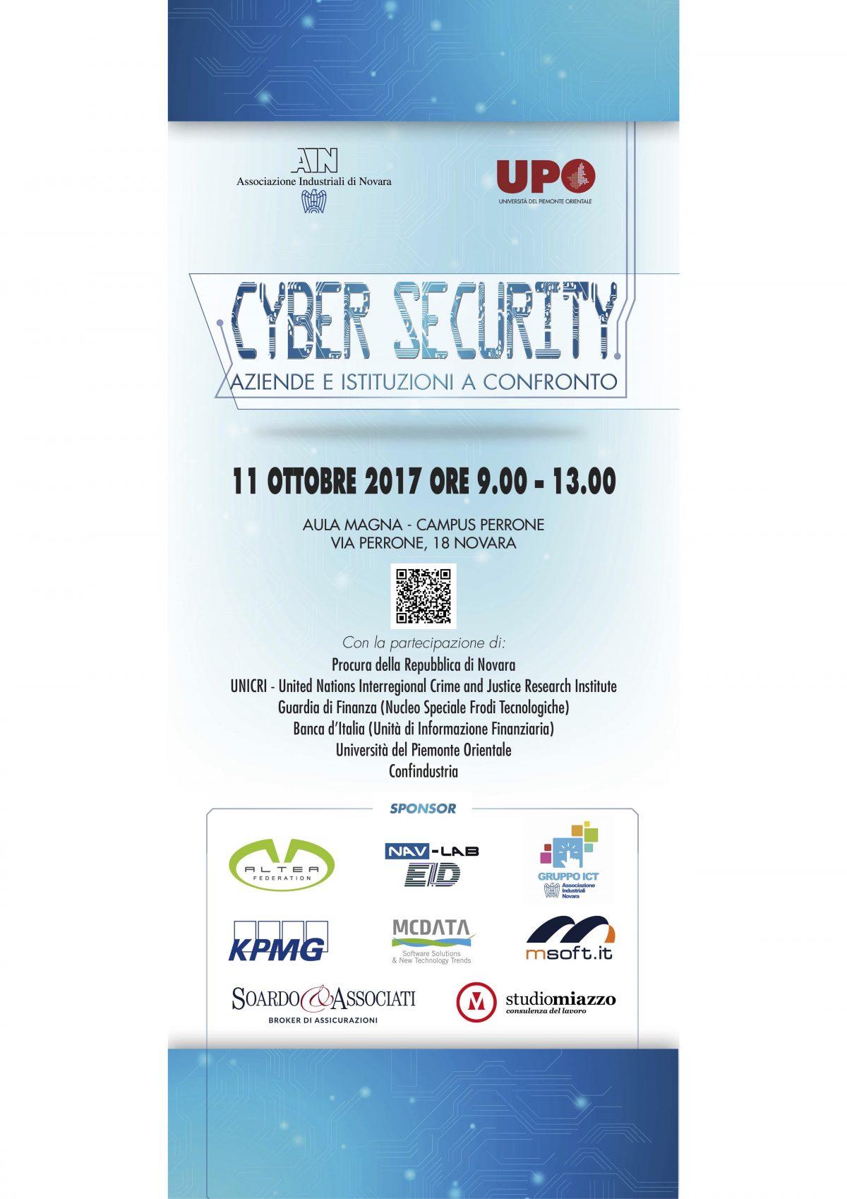 """11/10/2017 – Soardo e Associati sponsor dell'evento """"Cyber Security: aziende e Istituzioni a confronto"""""""